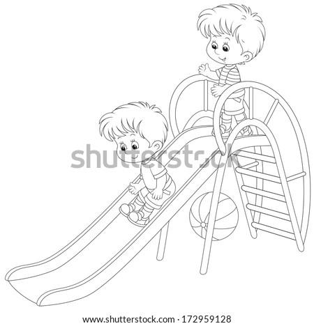 Little boys on a slide - stock vector