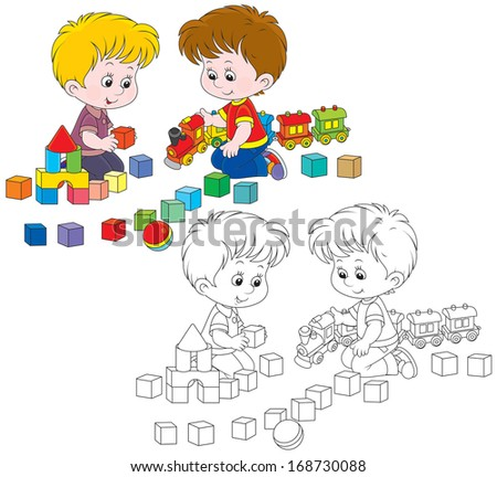 Little boys play with a toy train and bricks - stock vector