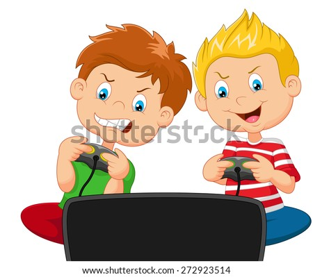 Little boys playing video game - stock vector