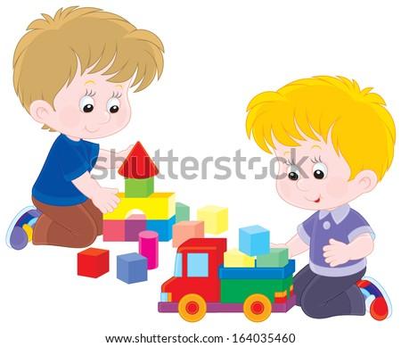 Illustration Stick Kids Playing Building Blocks Stock