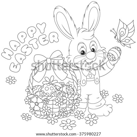Little bunny with a happy Easter greeting and with a decorated basket of painted eggs