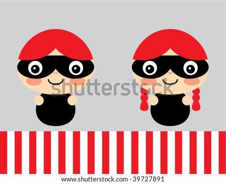 little burglar couple - stock vector