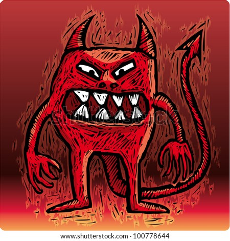 Little burning devil with an angry smile looking at you - stock vector