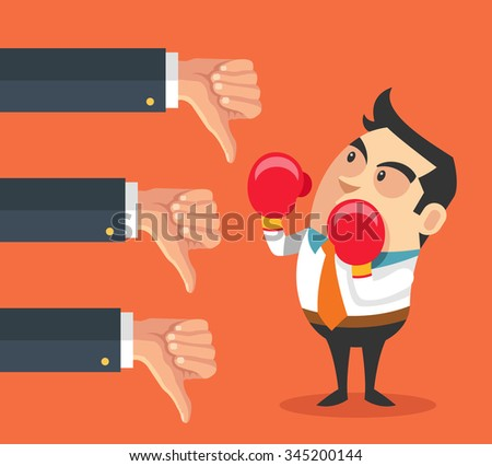 Little businessman and many hands with thumbs down. Vector flat cartoon illustration - stock vector