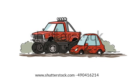 Little car stuck in mud and big off-road pickup truck. Cartoon illustration