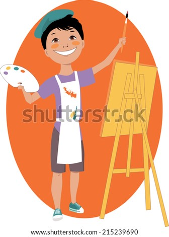 Little cartoon boy standing in front of an easel with a palette and a paintbrush - stock vector