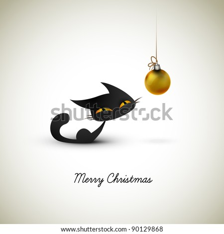 Little Cat Excited About Christmas Globe   Great Greeting for Pet Owners   Layered EPS10 Vector Background - stock vector