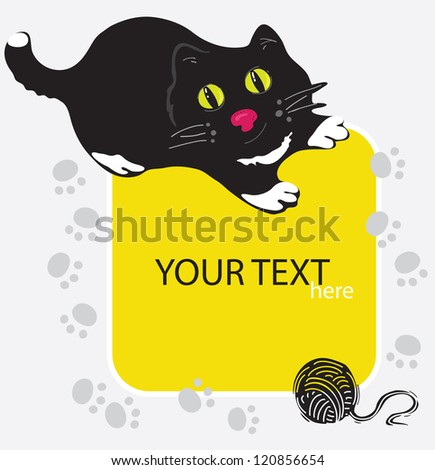 Little Cat playing with Football./ Black cat - stock vector
