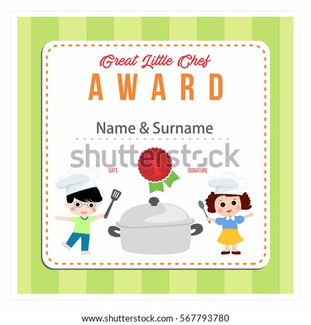 Child Chef Award Cooking Class Kids Vector 567793960 – Cooking Certificate Template