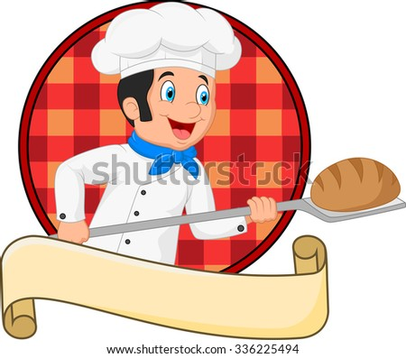 Little chef baker holding bakery peel tool with bread - stock vector