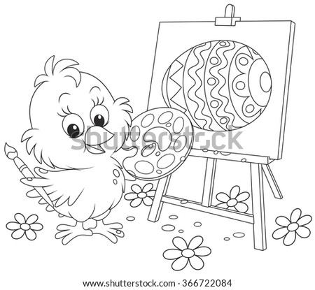 Little chick drawing a decorated Easter egg