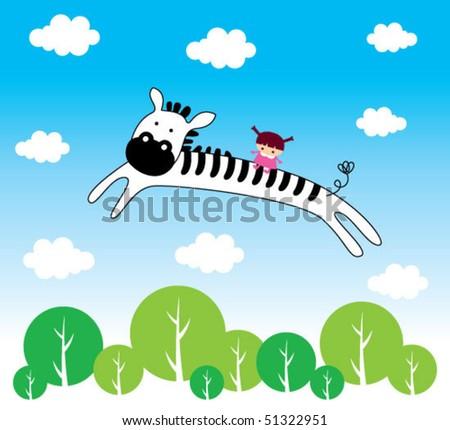 little child on a zebra spirit - stock vector