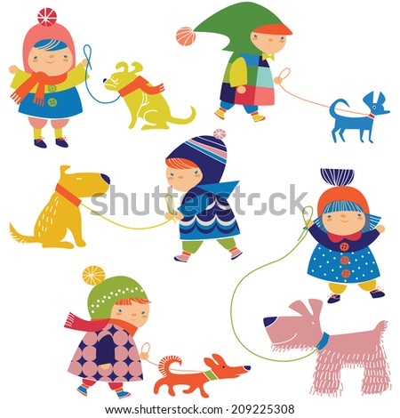 little children and dogs - stock vector