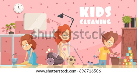 Little Children Cleaning Living Room Retro Cartoon Poster With Sweeping Floor Ordening Toys And Vacuuming Vector