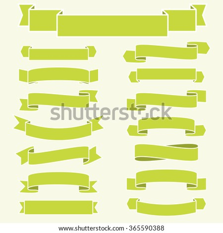 little collection of different banners in fine green colors - stock vector
