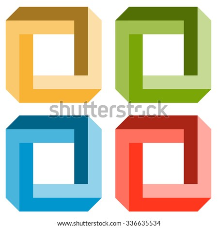 little collection of illustrated colored optical illusions - stock vector