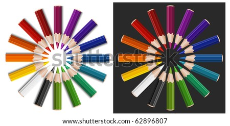 Little color pencils in circle, isolated, vector illustration - stock vector