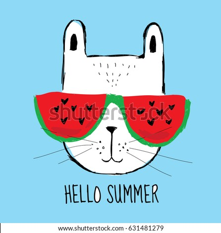 Little Cool White Bunny With Whiskers Wears Red Sunglasses In Green Frame,  A Watermelon With