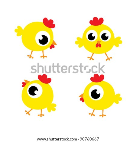 little cute chicky - stock vector