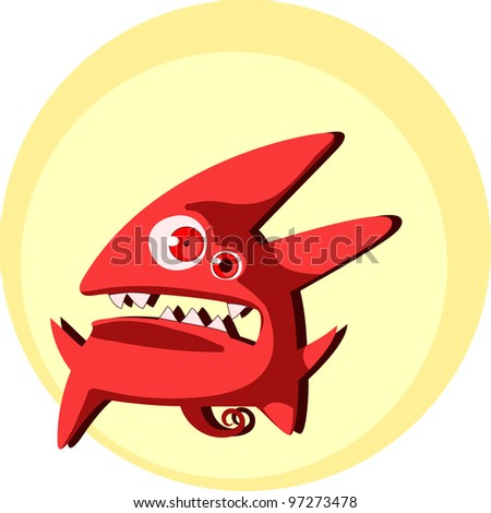 Little cute devil creature - stock vector