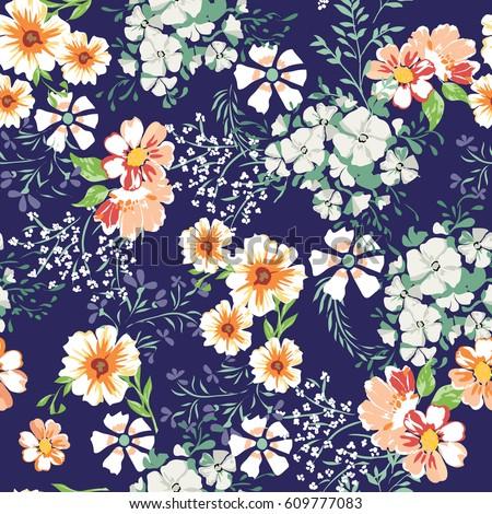 little cute flower print seamless background