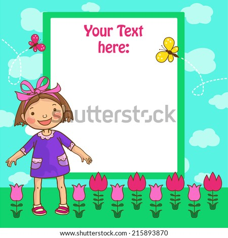 Little Cute Girl and tulips placard. Children Sport isolated objects on green background. Great illustration for a school books and more. VECTOR. Editorial. Education. Advertising. Board.
