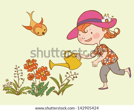 Little Cute Girl Watering Flowers. Children illustration for School books and more. Separate Objects. - stock vector