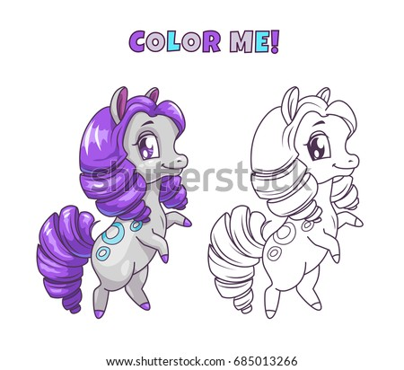 Little Cute Horse Illustration For Coloring Book Design Vector Colorful And Outline Pony Icons On