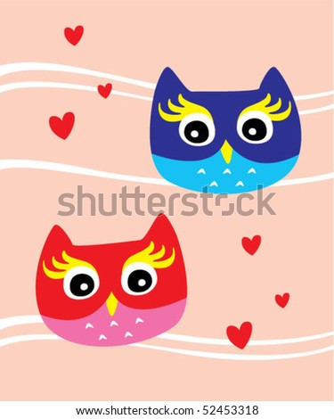 little cute owl couple - stock vector