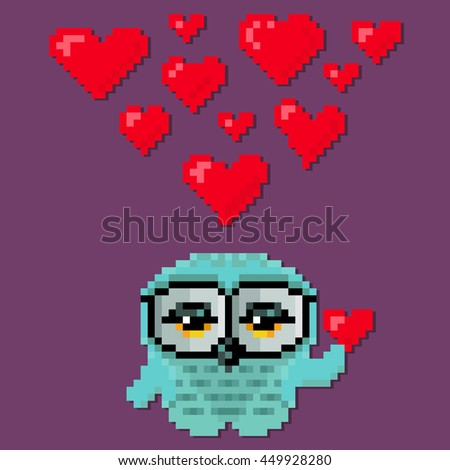 Little cute owl fall in love. Vector illustration in the style of old-school pixel art. - stock vector