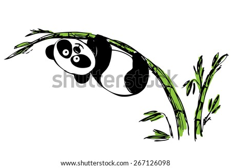 Little cute panda hanging on bamboo. vector - stock vector