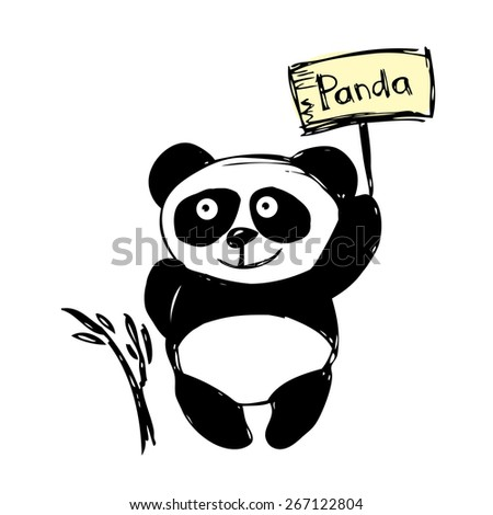 Little  cute panda  isolated on white, hand drawing, vector - stock vector
