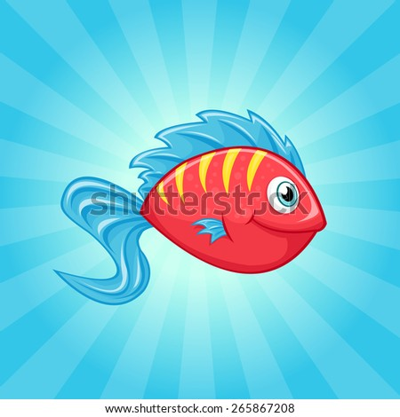 Little cute red fish with blue fins - stock vector