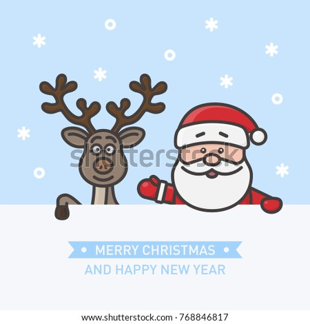 Little cute Santa Claus and funny reindeer holding a blank sign or message board. Holiday line art, flat line, outline stroke design. Merry Christmas and Happy New Year concept. Vector illustration.