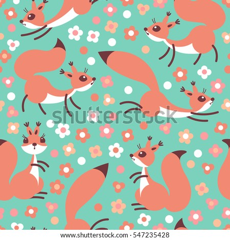 Little Cute Squirrels On Flowers Meadow. Seamless Spring Or Summer Pattern  For Gift Wrapping,