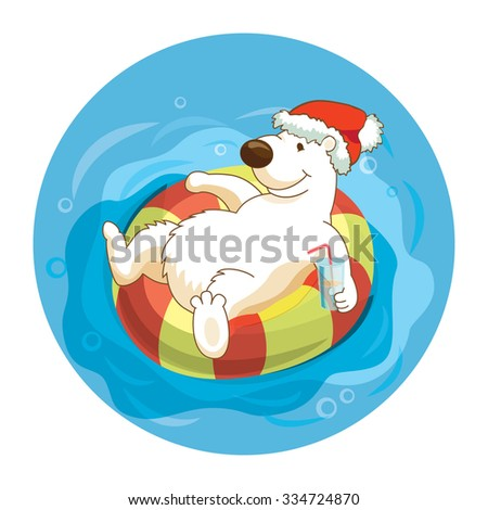 Little cute white bear wearing santa hat is sweaming with flouting ring and drinking cocktails. Celebrate the New Year and Christmas at the resort. Concept for travel agency. - stock vector