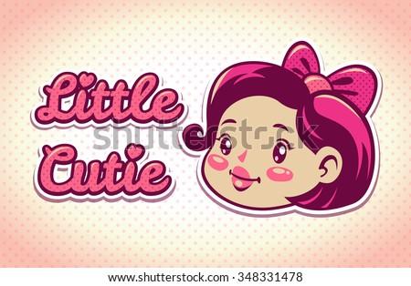 Little cutie vector logo elements, cute girls vintage illustration, childish template for tshirt design - stock vector