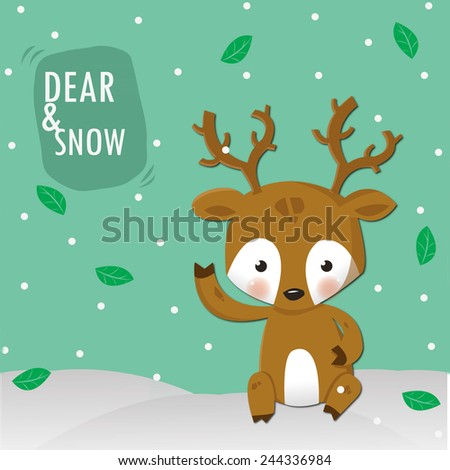little dear and white snow ,happy in Christmas day - stock vector