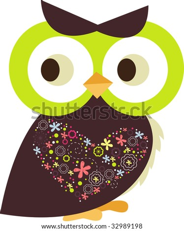 little decorated owl - stock vector