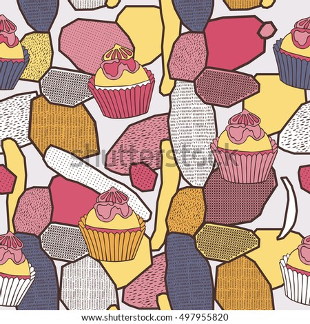 Little delicious cupcakes seamless pattern.