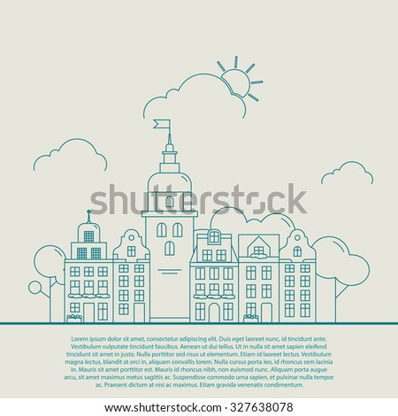 Little detailed linear cityscape with various row townhouses, beautiful town street with building facades thin line trendy illustration. Ideal for graphic, web and motion design - stock vector