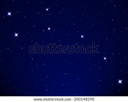 Little Dipper on the starry sky - stock vector