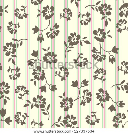 little ditsy floral over a stripe - seamless - stock vector