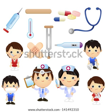 Little Doctor Kids - stock vector