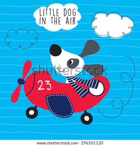 little dog in the air vector illustration - stock vector