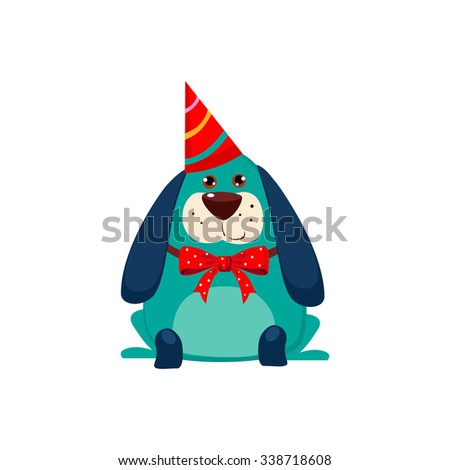 Little Dog with a Party Hat on. Cute Vector Illustration