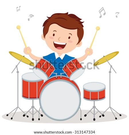 Little drummer. Vector illustration of a little boy playing drums. - stock vector