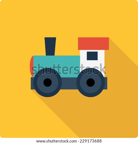 Little engine simple flat vector illustration on yellow background. Cute train logo.