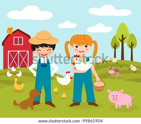 Little farmers - stock vector