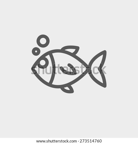 Little fish icon thin line for web and mobile, modern minimalistic flat design. Vector dark grey icon on light grey background. - stock vector